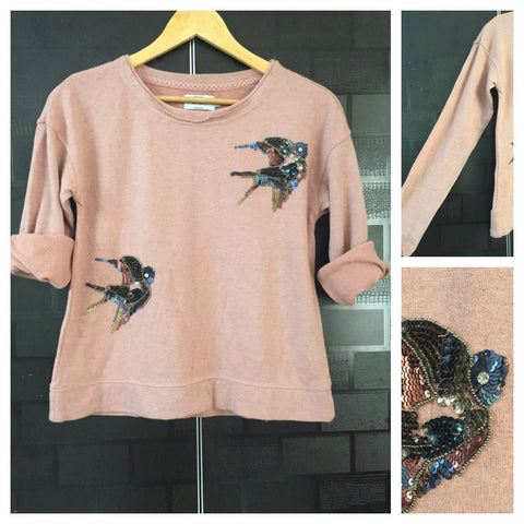 Warm - Dirty Pink Full Sleeved Top with Flying Birds Sequin