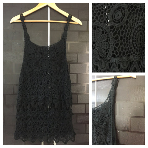 Pretty Black Net/Croatia Sleeveless long top