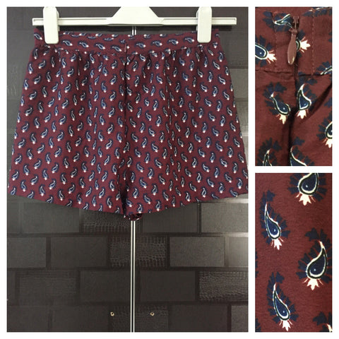 Reddish Brown Shorts with Blue - White Prints