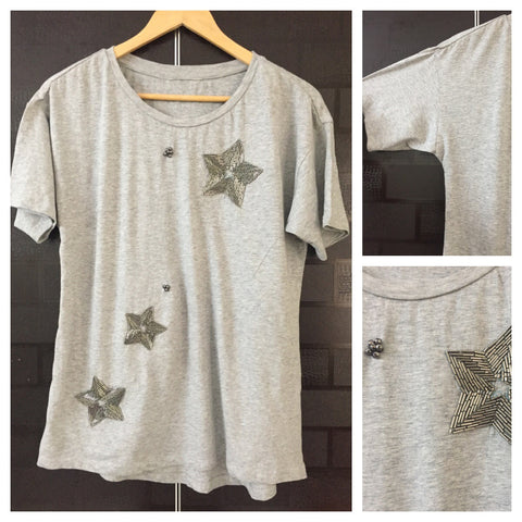 Star & Flower Sequined Grey Tee