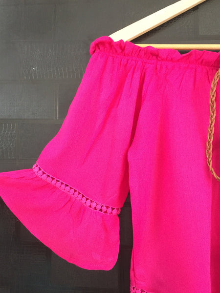 Front Tie - Plain Magenta Pink On - Off Shoulder Top with little cut- work