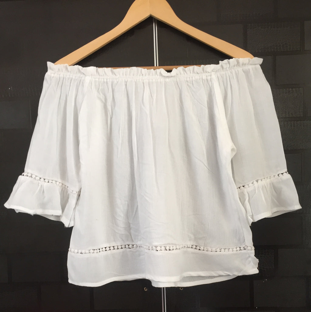 Front Tie - Plain White On - Off Shoulder Top with little cut- work