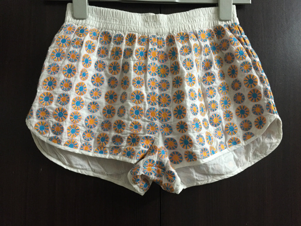 White Shorts with Orange - Blue Thread work.