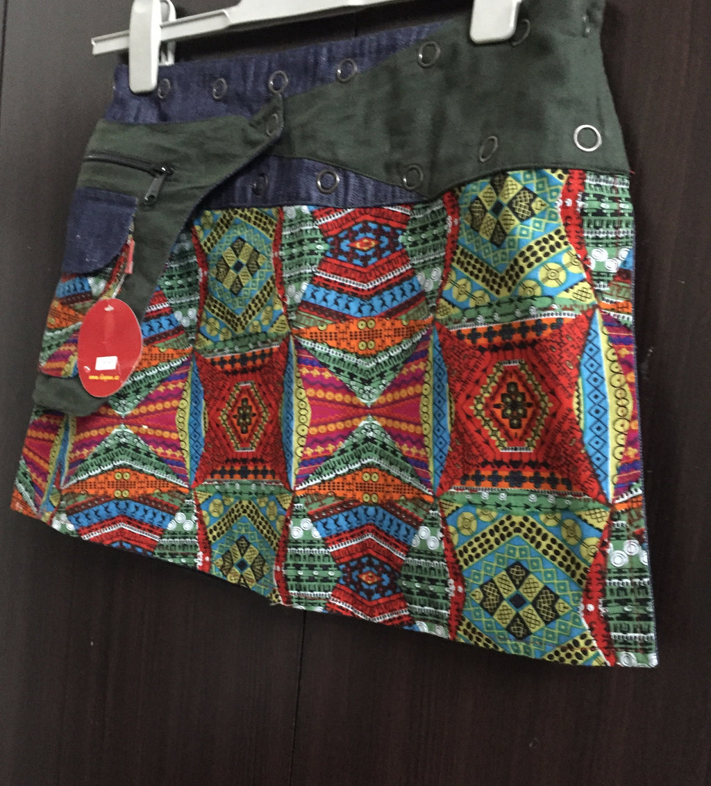 Stylish Multicolor-Denim Reversible Wraparound Skirt