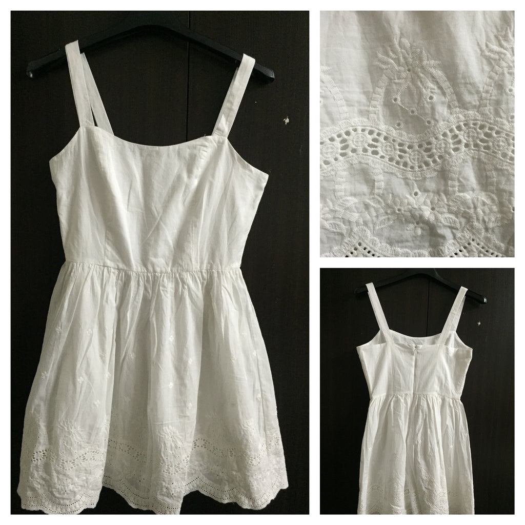 Pretty White short Dress with cut-work and embroidery design