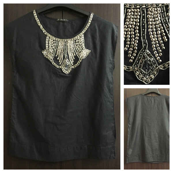 Elegant Black Sleeveless Top with silver sequin work