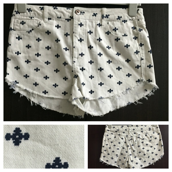 White Shorts with Blue Print