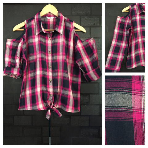 Checked Cold - Shoulder - Pink, Blue and Grey Check Shirt with front knot