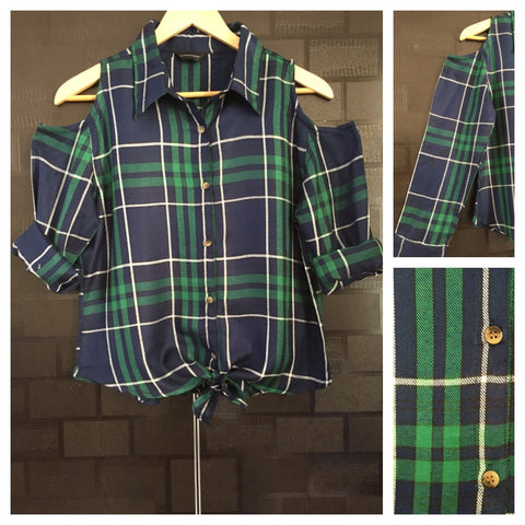 Checked Cold - Shoulder - Green, Blue and White Check Shirt with front knot