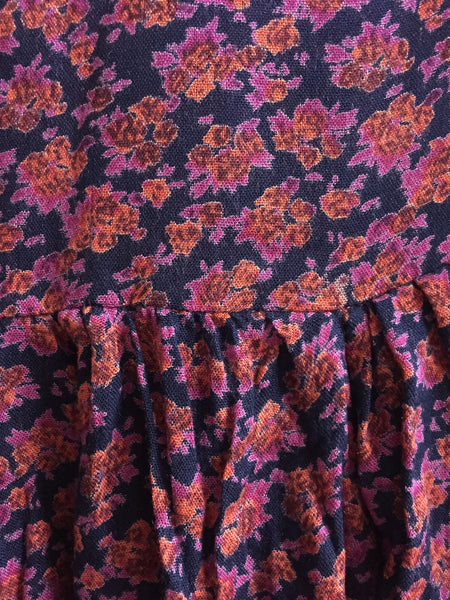 Red-Pink Flowers on Blue, Ruffled Sleeve Top