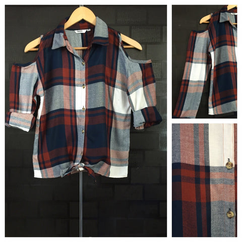 Checked Cold - Shoulder - Blue, White and Brown Check Shirt with front knot