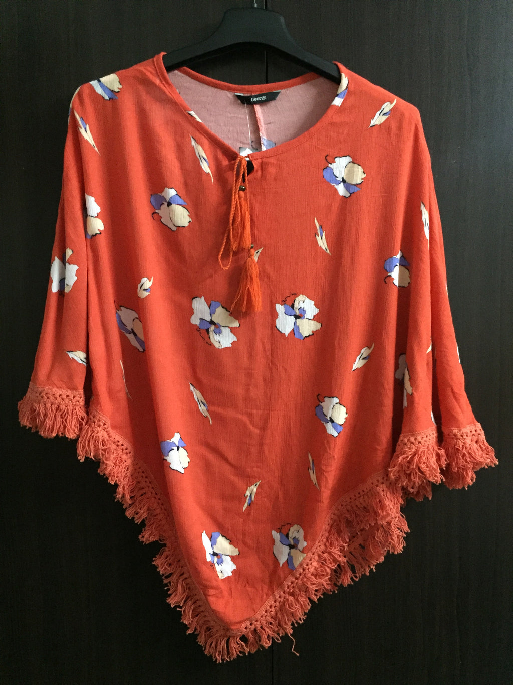 Poncho Style Orange Top with Tassels