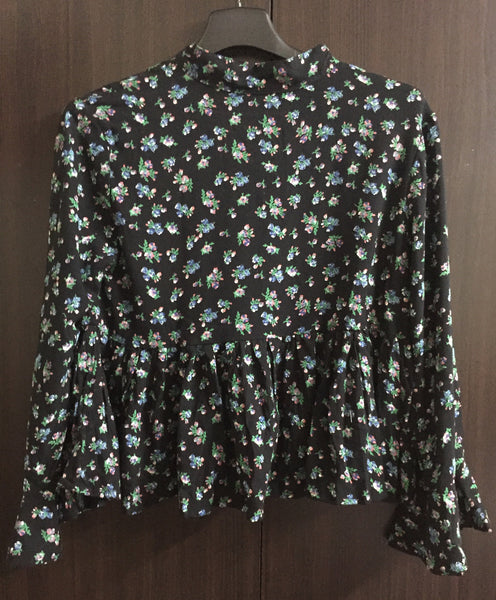 Blue-Pink Flowers on Black, Ruffled Sleeve Top - #FTFY - For The Fun Years