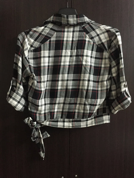 Crop Checks with Side Tie - Red, Black and Brown