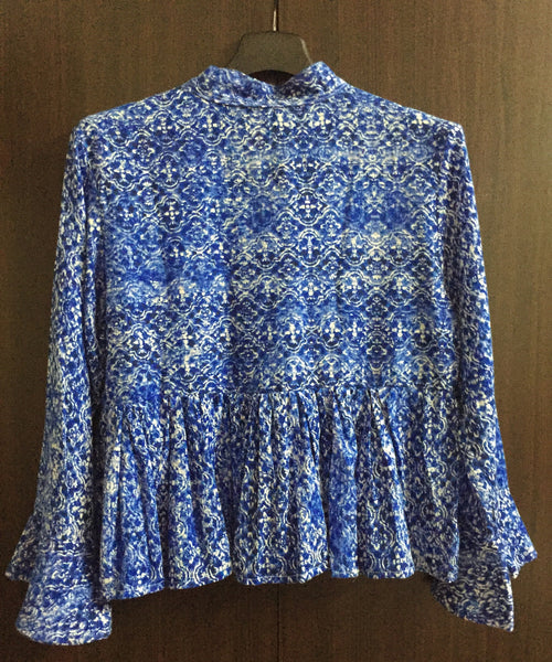 Blue Printed, Ruffled Sleeve Top
