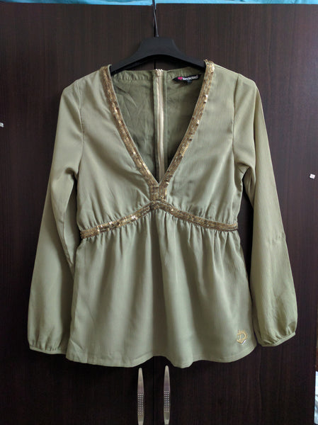 Elegant Rough Feel - Green Stylish Top with Sequins.