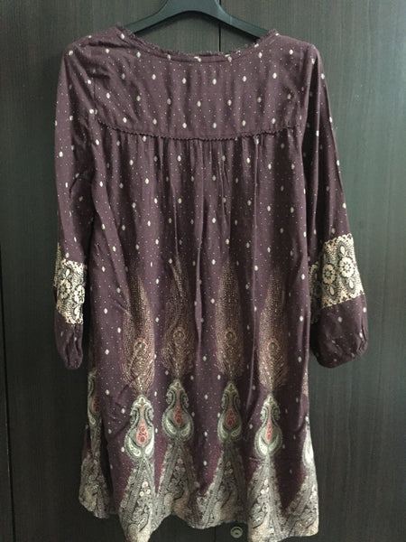 Brown Deep Neck Dress with Pink and Light Brown Prints