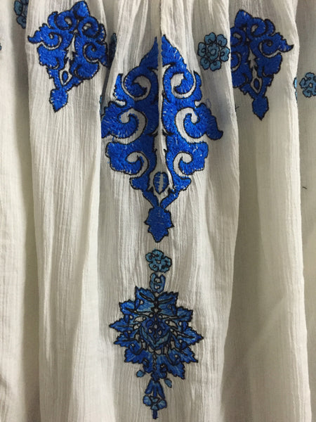 White Casual Top with Vibrant Blue and Black Thread work
