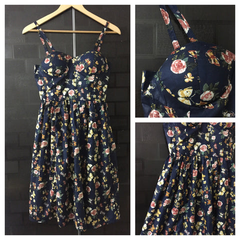 Vibrant Yellow-Pink Flowers on Black Printed Spaghetti Dress with adjustable straps