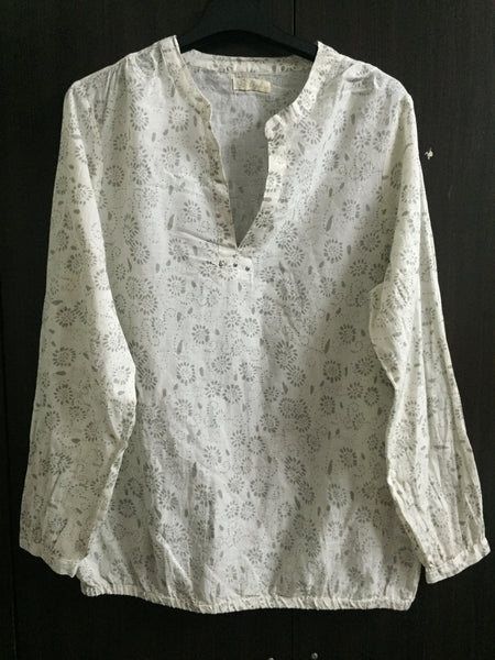 Cream Top with Grey Print