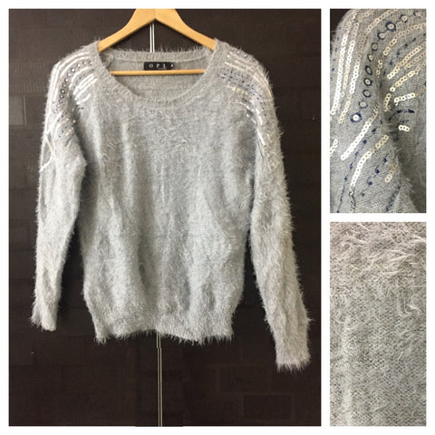 Warm - Fluffy Silver Sequins on Shoulders Grey Sweater