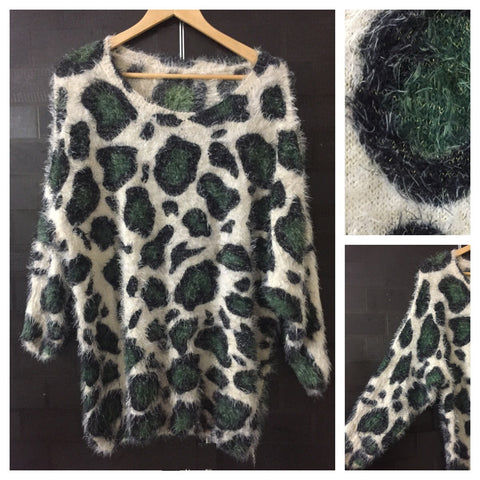 Warm - Fluffy - Green Animal Prints Stylish Anti Fit Cream Sweater