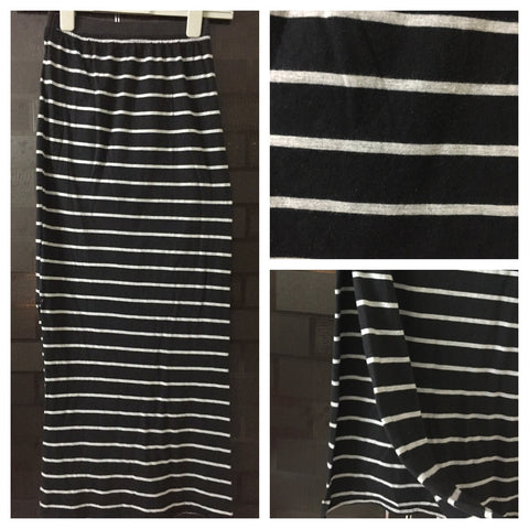 Stylish Horizontal Stripes - Grey and Black Fitted Long Skirt