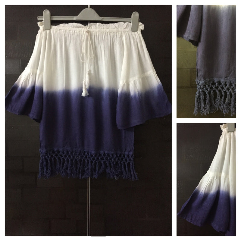 2 Colors - Tasseled - Blue and White Off shoulder Top