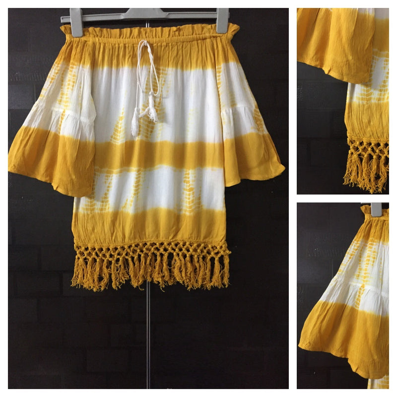 2 Colors - Tasseled - Yellow and White Off shoulder Top