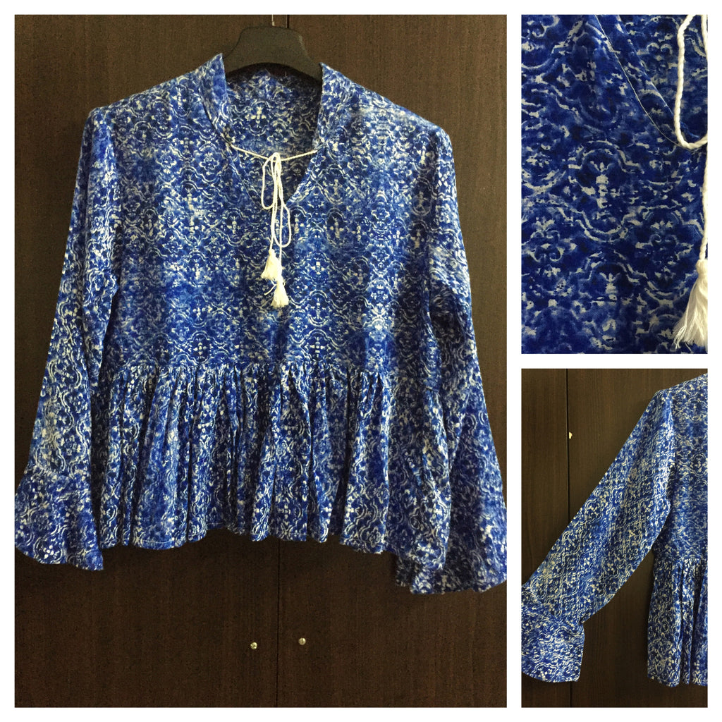 Blue Printed, Ruffled Sleeve Top - #FTFY - For The Fun Years