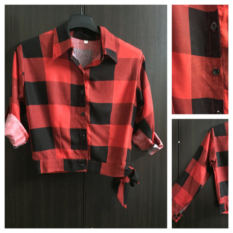 Crop Checks with Side Tie - Big - Red and Black.