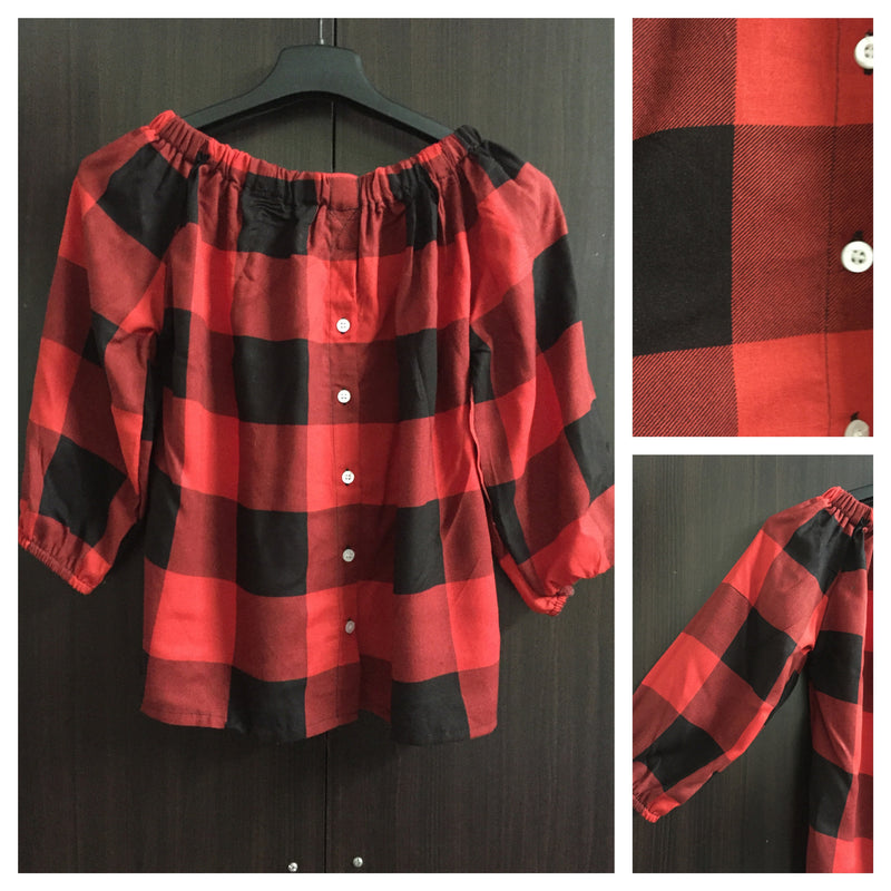 Checks - Red/Black Off shoulder top (Big Checks) - #FTFY - For The Fun Years