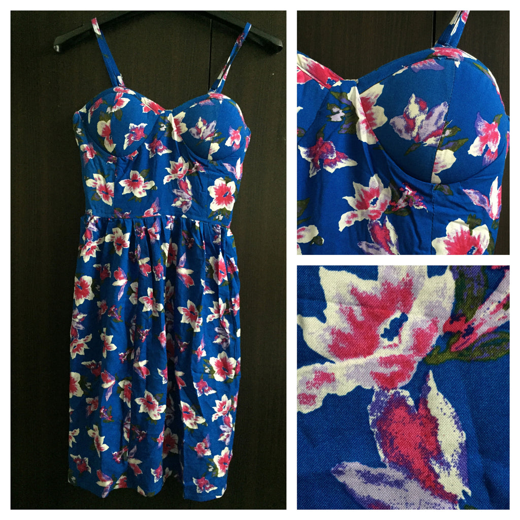 Blue-Pink Floral Spaghetti Dress - #FTFY - For The Fun Years