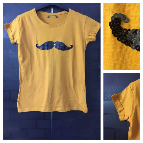 Mustache - Plain Mustard, Half Sleeves Tee with Black Sequins