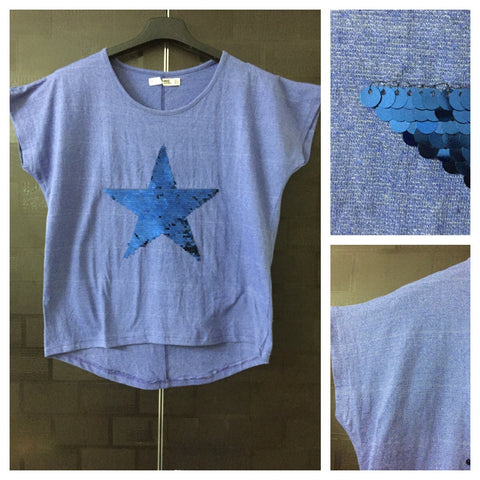 Star - White Weaves on Blue,Half Sleeves Tee with Blue Sequins