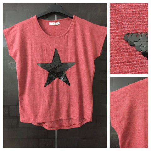 Star - White Weaves on Red,Half Sleeves Tee with Black Sequins
