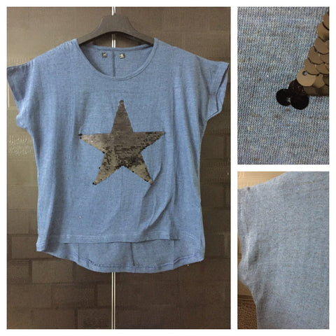 Star - Dark Spots on Blue-Black,Half Sleeves Tee with Black Sequins