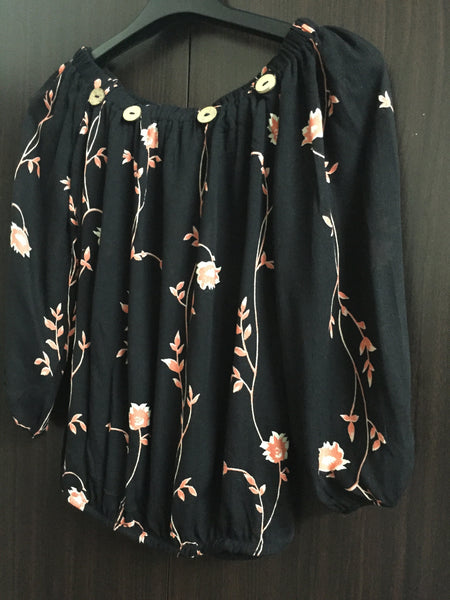 Pink Flowers on Black Off Shoulder Top