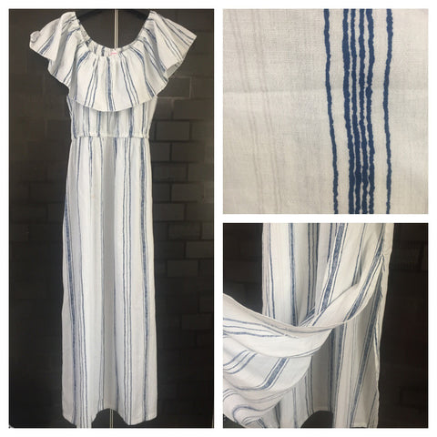 On - Off Shoulder, Pretty White, Blue Striped Long Dress with Side slits