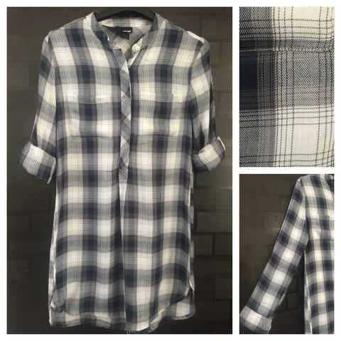 Shirtdress - Checks - Front Half Buttoned Blue,Grey and White Shirtdress