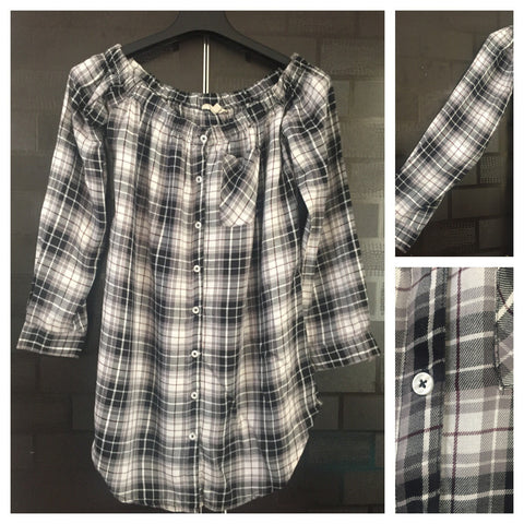 Checks - Grey, Black and White Off Shoulder Top with full sleeves
