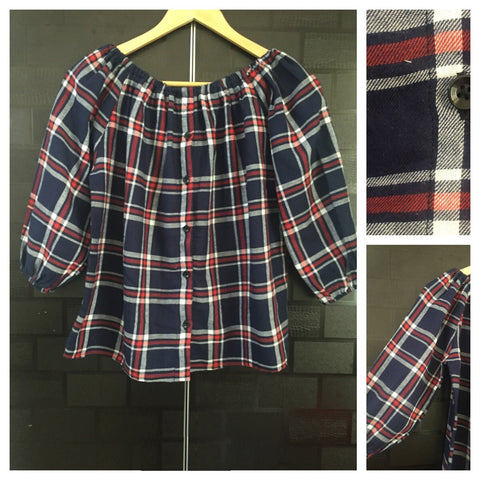 Checks - Off Shoulder -Blue, Red and White Off Shoulder Top