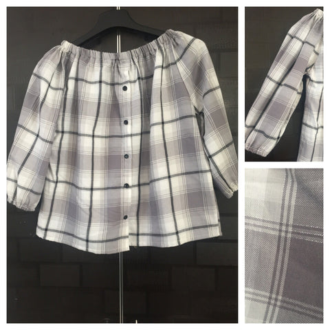 Checks - Off Shoulder - Pretty Silver, Grey and White Off Shoulder Top