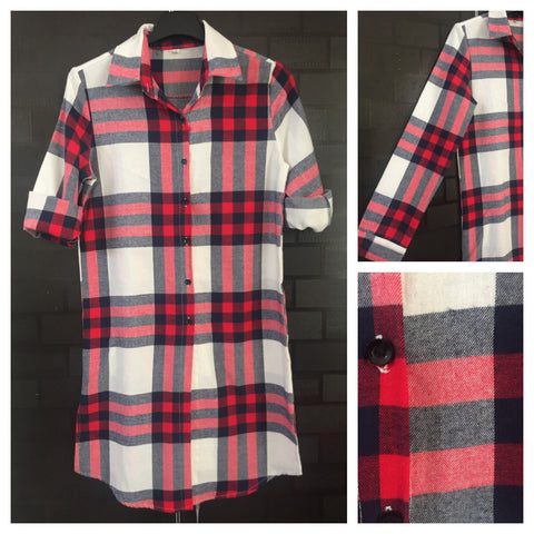 Shirtdress - Checks - Front Buttoned Red, Blue and White Shirtdress with front buttons