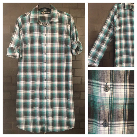 Shirtdress - Checks - Front Buttoned Green, Grey and Black Shirtdress