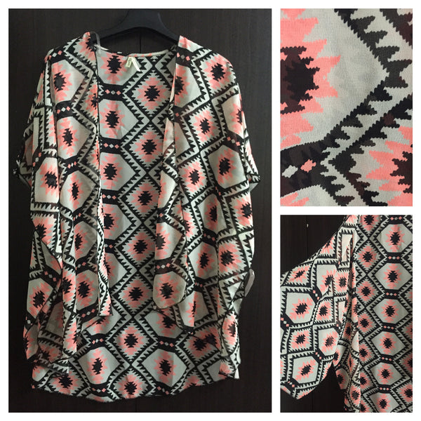 Neon Pink and Black Polyester Shrug