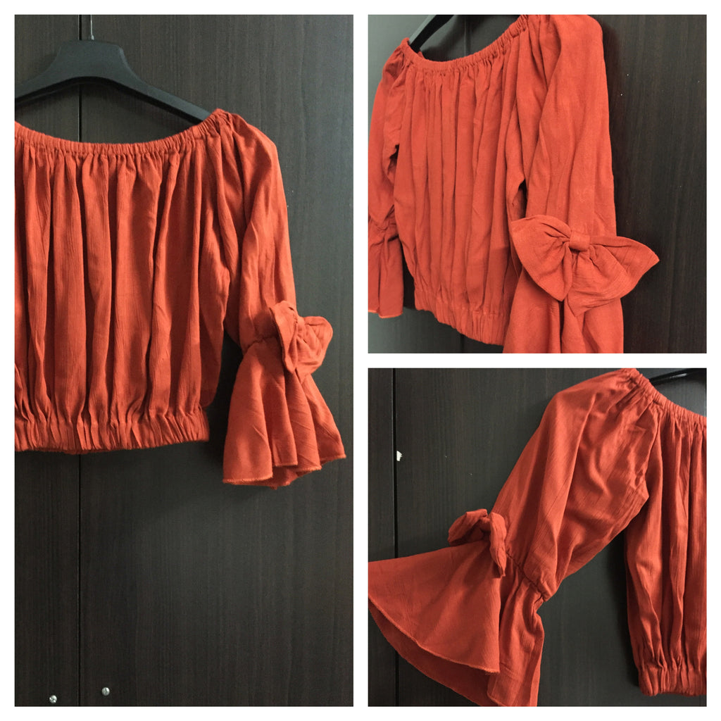 Stylish Bow - Crop, Off Shoulder Top - Rust