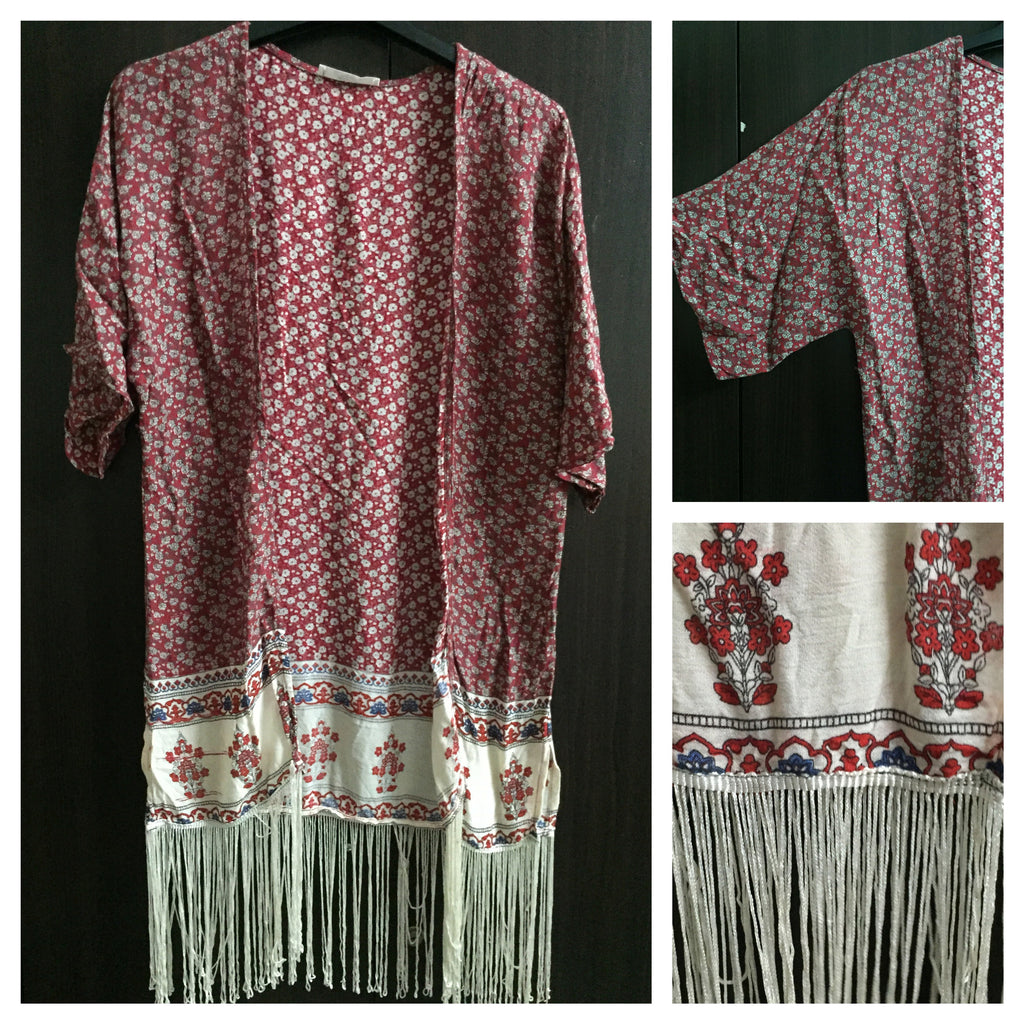 Red and White Flora Shrug with Tassels