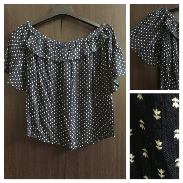 Little Cream Prints on Navy Blue half Sleeved Off Shoulder Top