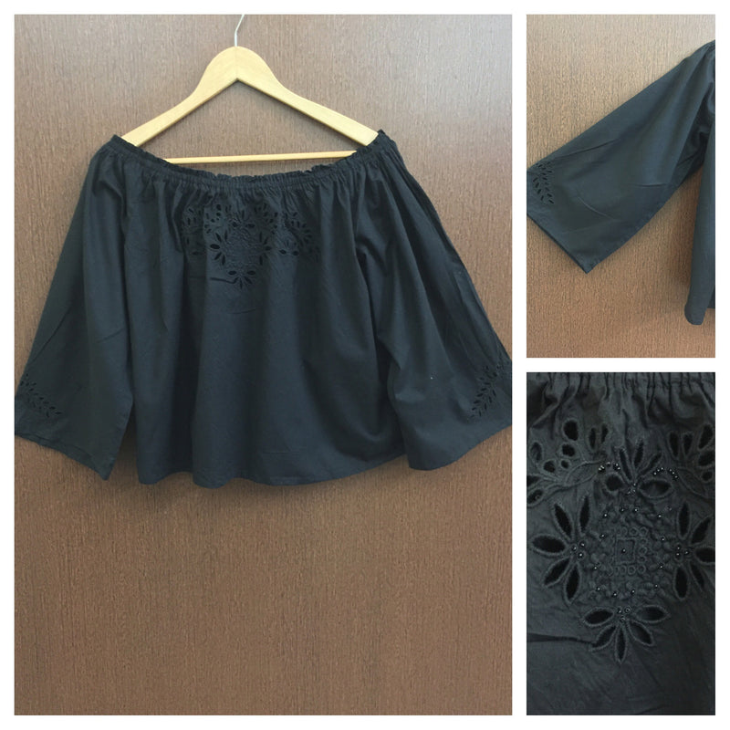 Pretty Cut Work & Embroidery On/Off Shoulder Black Top